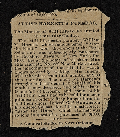 Obituary of painter William Michael Harnett (1848-1892)