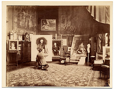 Leon Bonnat in his studio, painting