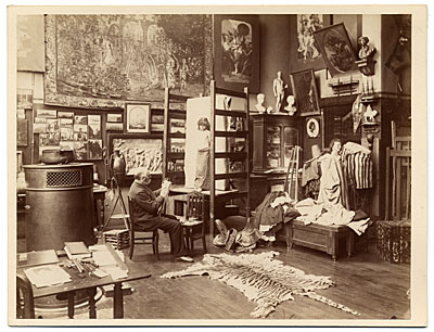 Gustave Boulanger in his studio sketching