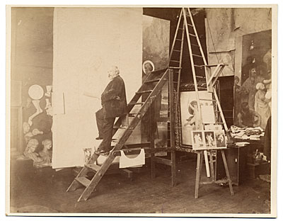 [William Bouguereau in his studio on a ladder]