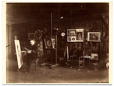 [William Bouguereau in his studio painting]