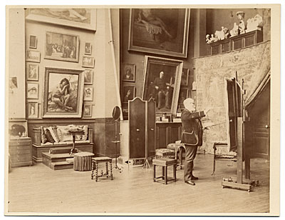 Alexandre Cabanel in his studio painting