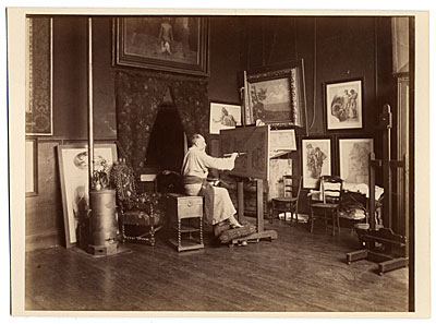[Puvis de Chavannes in his studio painting]