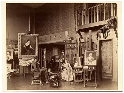 [Gustave Courtois and others in his studio]
