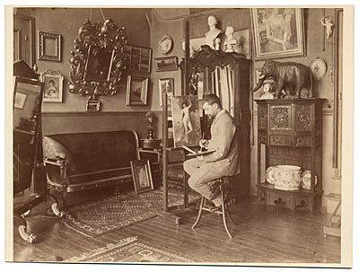 Henri Gervex in his studio, painting