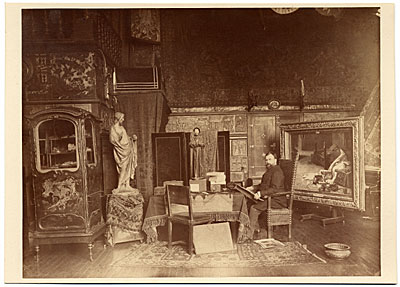 Albert Maignan sketching in his studio
