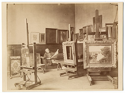 Alfred Stevens in his studio.