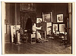 Puvis de Chavannes in his studio painting