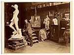 [Jean Falguiere in his studio with his work ]
