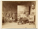 [Charles Jacques painting in his studio ]