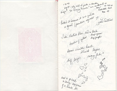 Journal from Barbara Mortensons work on the 10 of Hearts