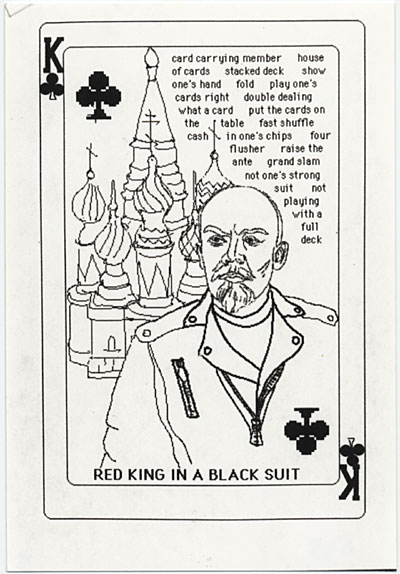 Photo reproduction of design for Red king in a black suit