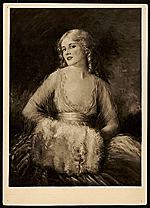 Reproduction of Elizabeth Piutti-Barth portrait of Jeanne Eagels as her character in the film Hamilton