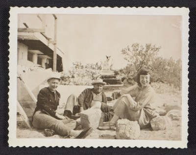 Lee Krasner with three unidentified people