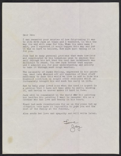 [Jay Pollock letter to Lee Krasner]