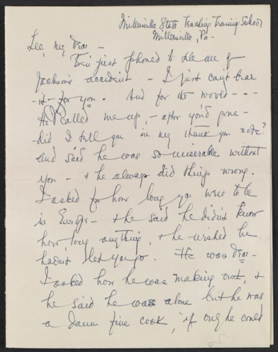 [Elizabeth Wright Hubbard letter to Lee Krasner]