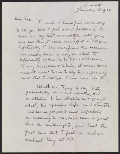 [Mark Rothko letter to Lee Krasner]