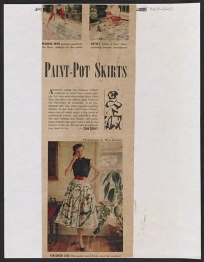 An article featuring University of Tennessee student June Acree modeling her homemade Pollock fabric in Tennessee Weekly
