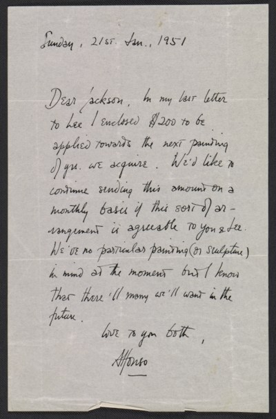 [Alfonso A. Ossorio letter to Jackson Pollock]