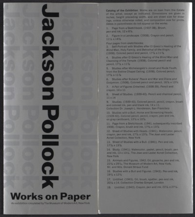 [Exhibit brochure for Jackson Pollock works on paper]