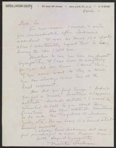 Martha Jackson letter to Lee Krasner