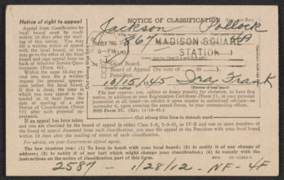 Selective Service notice of classification for Jackson Pollock