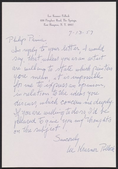 Lee Krasner letter to Philip Pavia