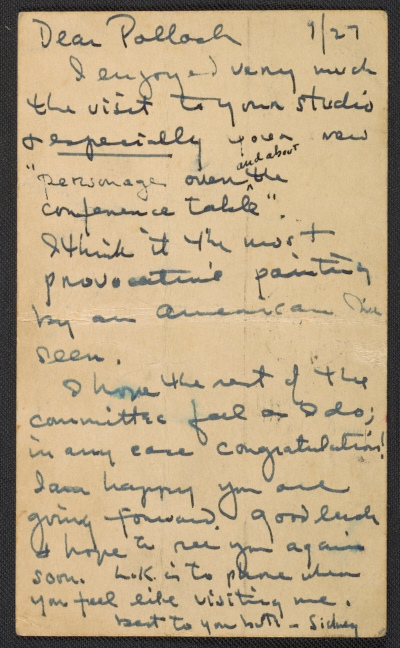 Sidney Janis letter to Jackson Pollock