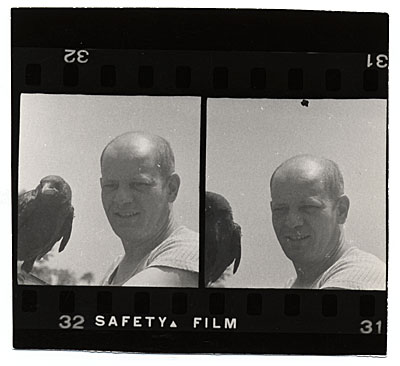 Jackson Pollock with his pet crow, Caw-caw