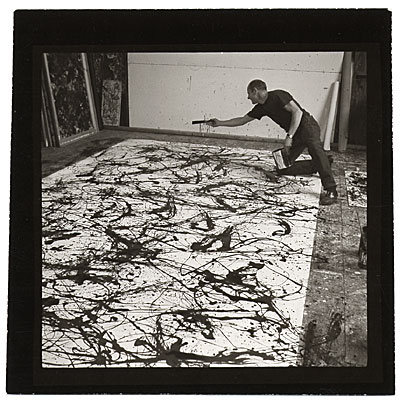 [Jackson Pollock working on a painting]