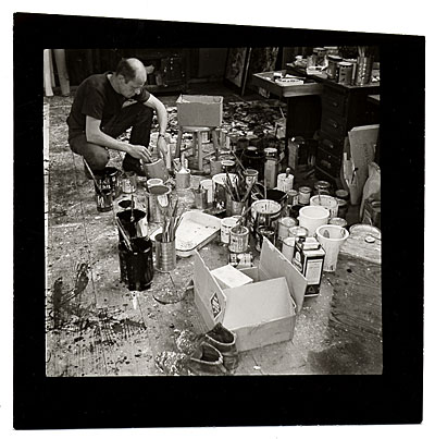Jackson Pollock in his studio.