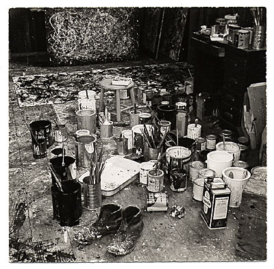 Cans of paint and canvases in Jackson Pollocks studio