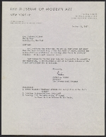 Porter A. McCray letter to Lee Krasner