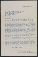 Dr. Violet Staub de Laszlo letter to the Examining Medical Officer of the Selective Service System