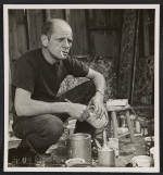 Jackson Pollock holding a can of paint