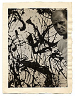 Jackson Pollock with his painting Untitled Number 32