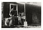 Jackson Pollock and family on an outdoor porch