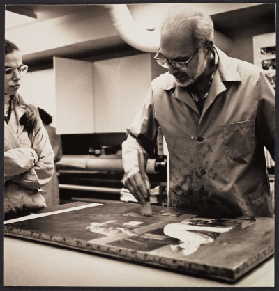 [Louis Pomerantz demonstrating painting conservation]