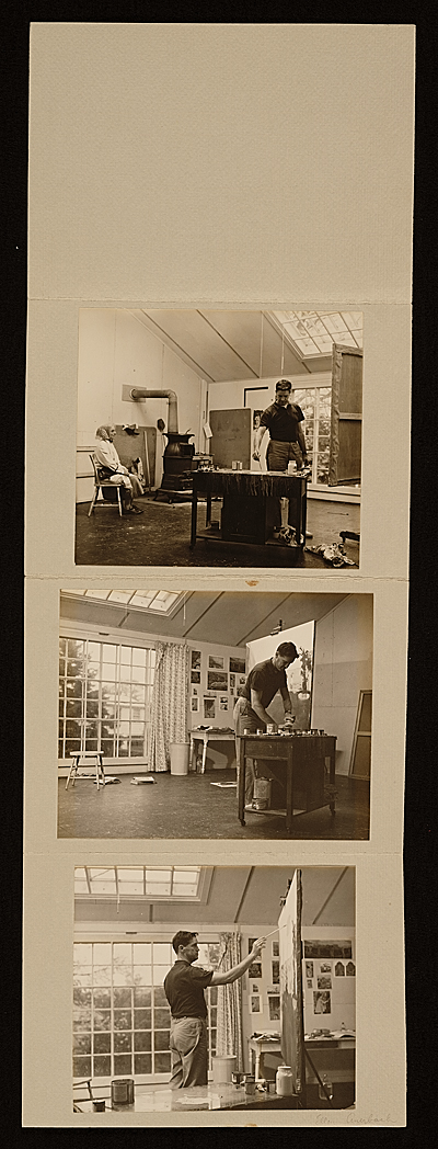 Series of photographs of Fairfield Porter working in his Southampton studio