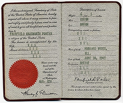 Fairfield Porter's passport
