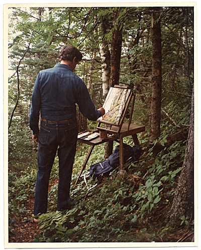[Fairfield Porter painting in the woods in Maine]
