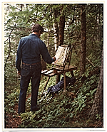 Fairfield Porter painting in the woods in Maine