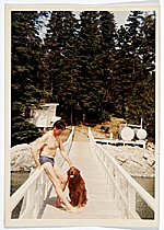 Fairfield Porter with his dog Bruno, Great Spruce Head Island, Maine