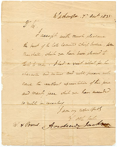 Andrew Jackson letter to Hiram Powers
