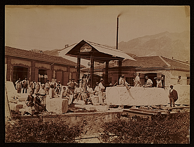 [Marble being delivered from the quarry to Hiram Power's studio in Carrara, Italy]