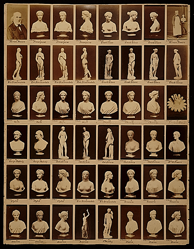 [Page of photographs of various works by Hiram Powers and two images of the artist]