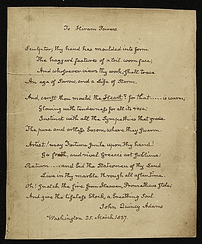 [A copy of a John Quincy Adams poem to Hiram Powers]