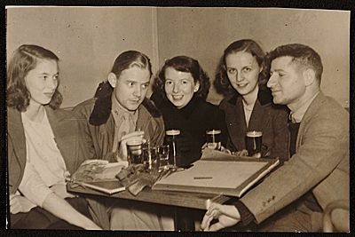 Josef Presser with friends at a pub in New York, N.Y.