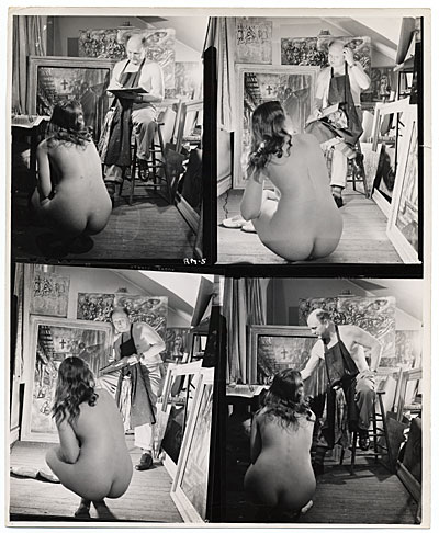 [Reginald Marsh sketching from a model in his studio]