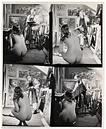 [Reginald Marsh sketching from a model in his studio ]